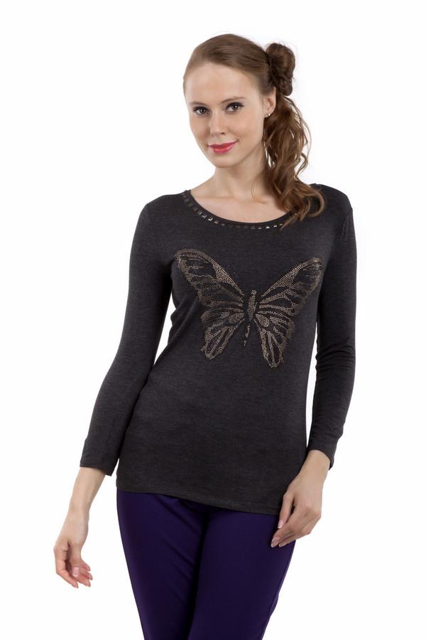 Лонгслив PezzoЛонгсливы<br>Темно-коричневый женский лонгслив Pezzo прилегающего кроя с рисунком бабочки выполненным из страз. Изделие дополнено: круглым вырезом и укороченными рукавами. Ворот декорирован клепками.<br><br>Размер RU: 42<br>Пол: Женский<br>Возраст: Взрослый<br>Материал: хлопок 30%, тенсель 63%, спандекс 7%<br>Цвет: Чёрный